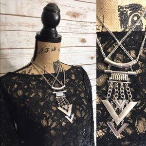 Statement Silver Tone Chain  Necklace